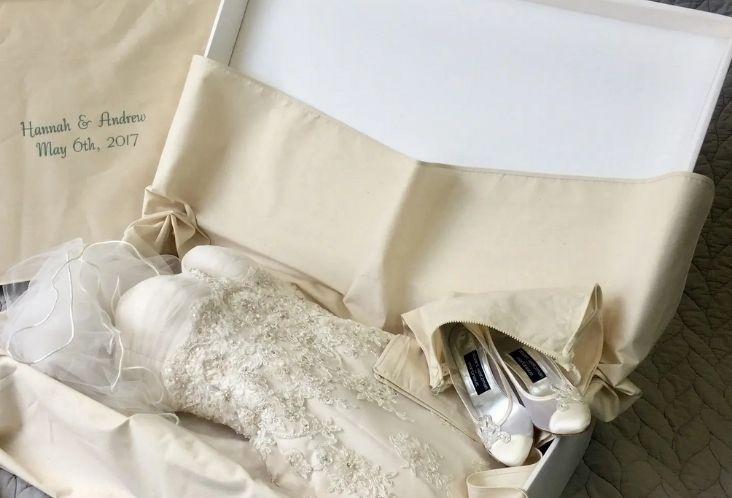 properly folding and storing a wedding dress
